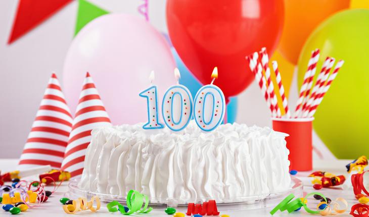 100 candles birthday cake