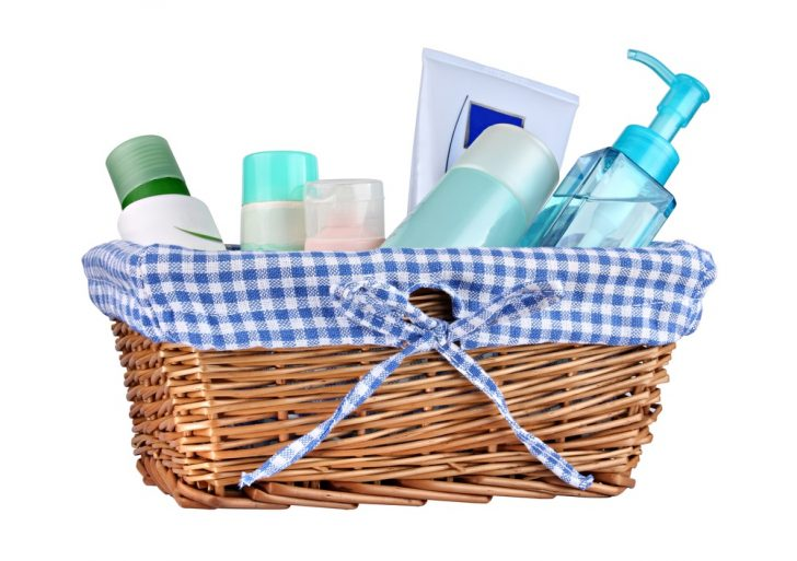 basket of acne products (creams and lotions)