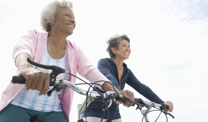 African American and Caucasian women exercising
