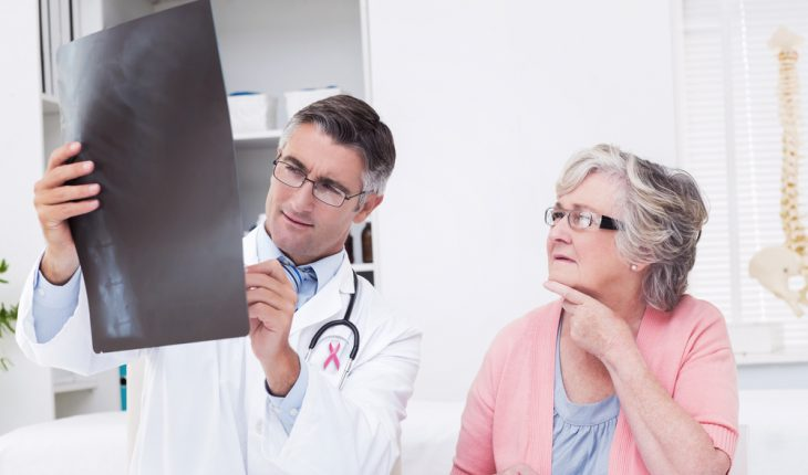 Pink,Awareness,Ribbon,Against,Doctor,Explaining,X-ray,To,Female,Patient