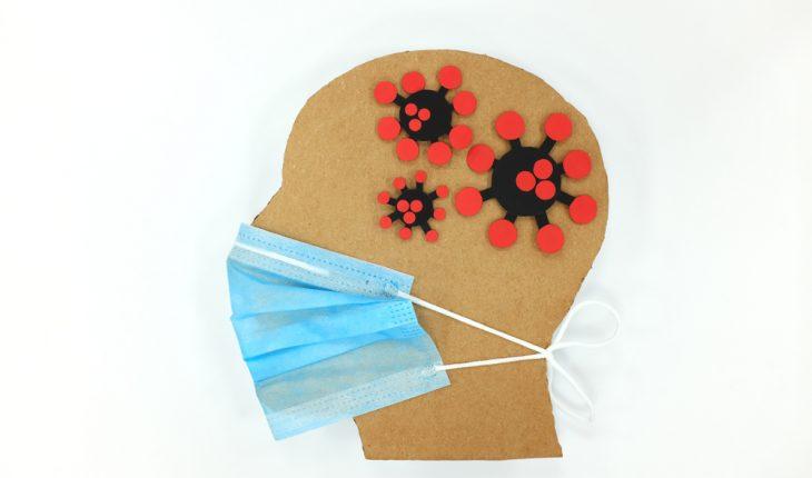 Male,Head,Profile,Silhouette,Wearing,Blue,Face,Mask,With,Coronavirus