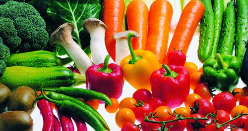 fruits and raw veggies – carrots, apples, celery, and bell peppers