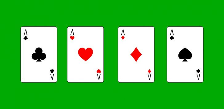 four-aces-green-background