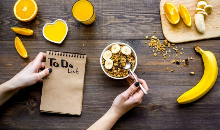 A dish of fruit and the start of a to-do list