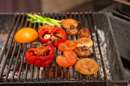 Grilled vegetables on barbecue