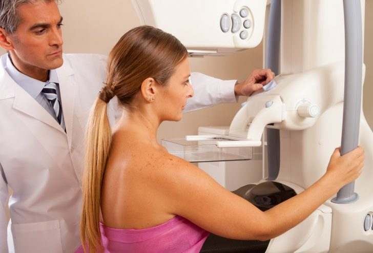 Mammogram with doctor and patient
