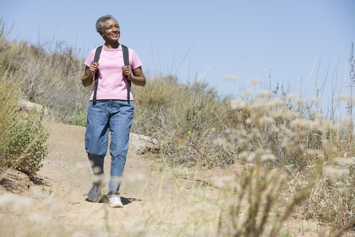 Mature woman hiking