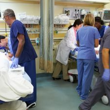 medical personnel working in emergency room