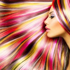 Model with beautiful multicolor hair