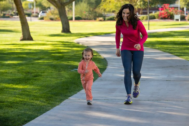mom, daughter exercising, healthy lifestyle