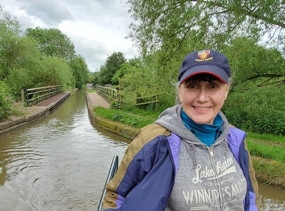 Sally on a narrowboat