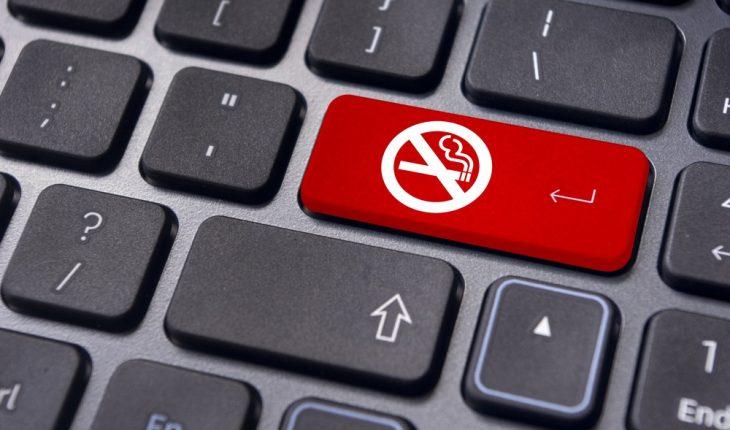 no smoking symbol on computer keyboard