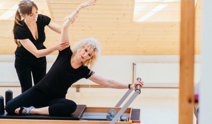 woman, trained, pilates, machine