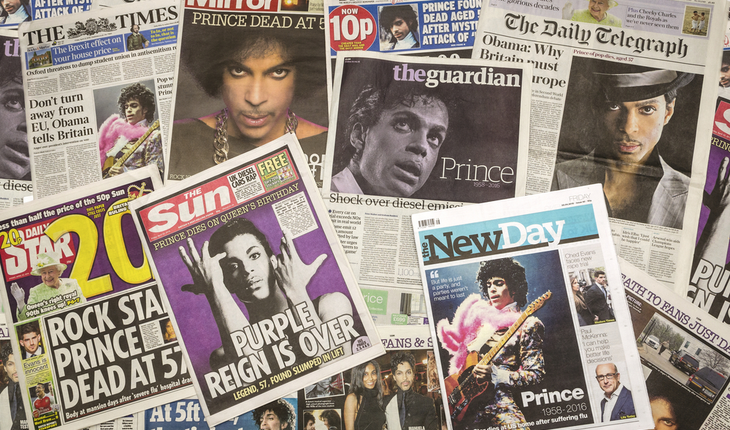 Prince's death newspapers