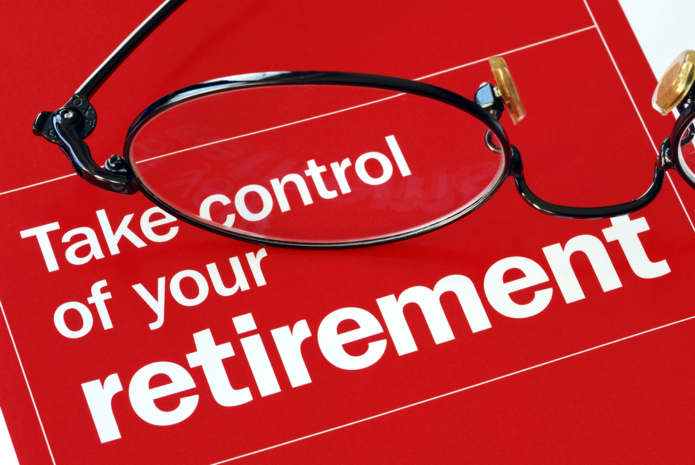 Retirement, take control sign with glasses