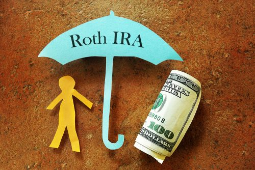 Roth IRA sign with piggy bank and calculator