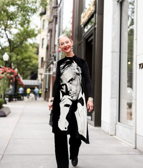woman in street with stylish shirt