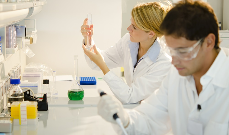 Two researchers in laboratory