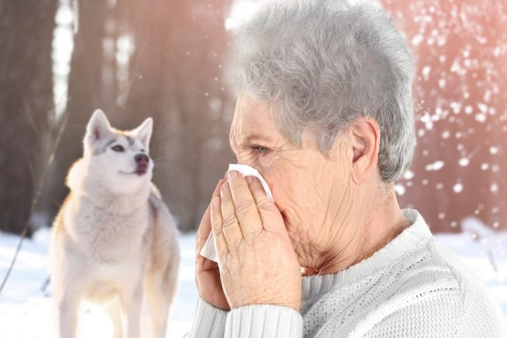woman sneezing, allergic to dog