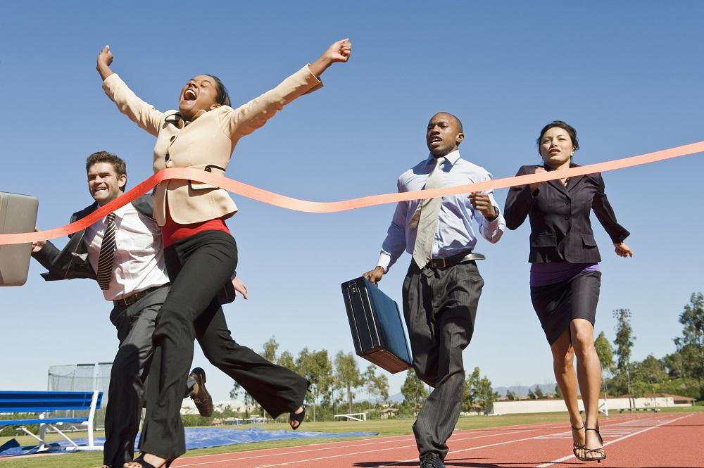 Woman crossing finish linie