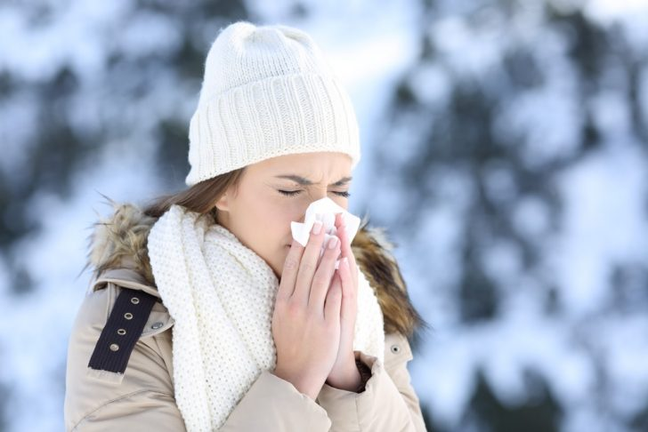woman, sneezing, winter, outdoors