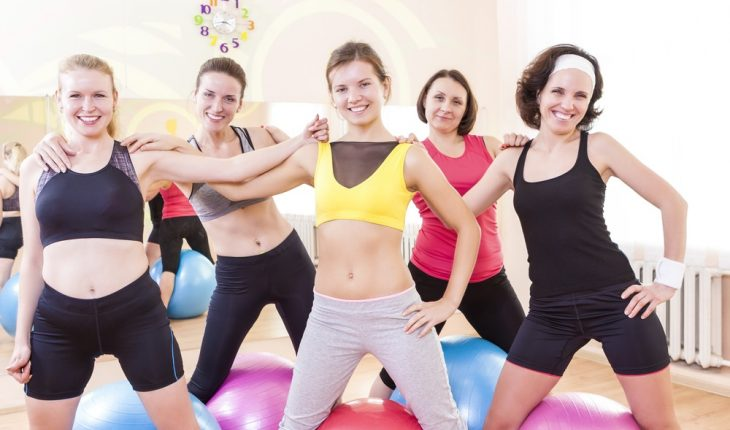 Happy women in fitness class