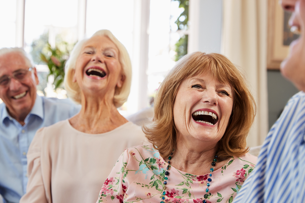 adults laughing