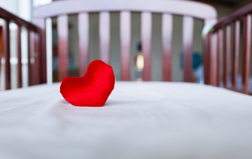 baby crib and heart