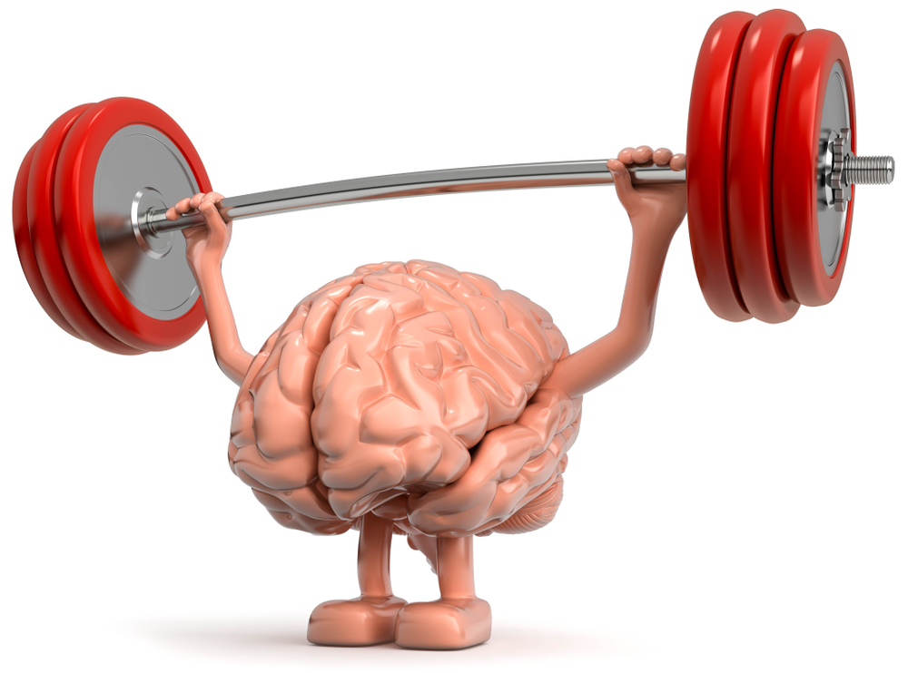 brain lifting weights, cartoon