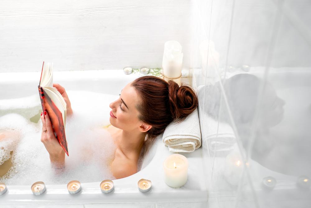 bubble bath with book