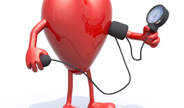 cartoon heart taking blood pressure