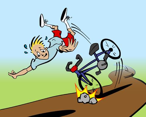 cartoon of man falling off his bike
