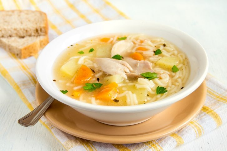 chicken soup, bowl, bread