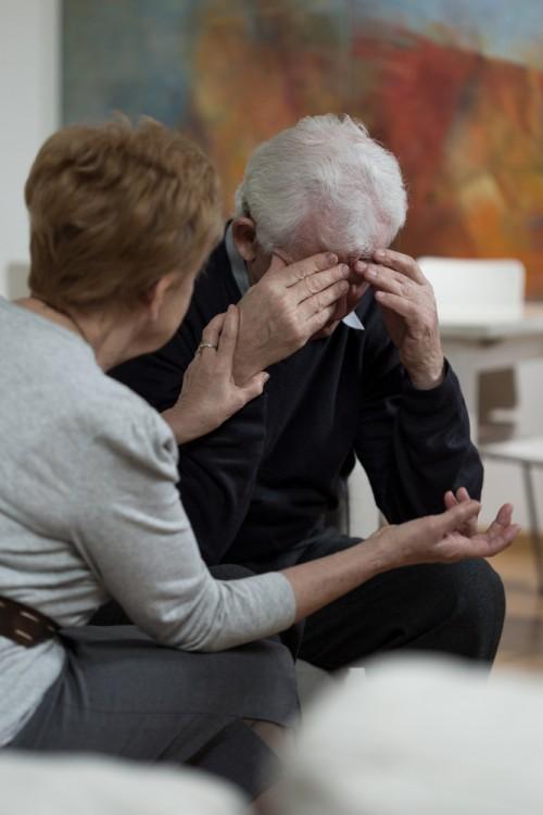 depressed older couple