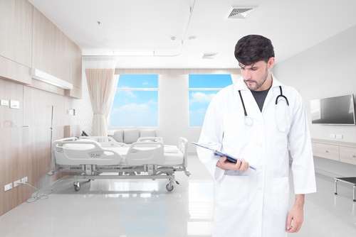 doctor in hospital room