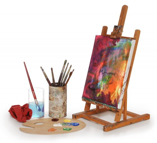 easel-paints-and-brushes