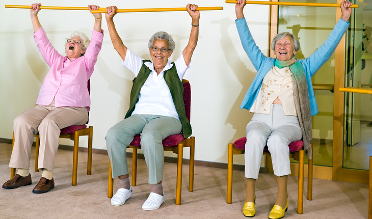 elderly exercise class