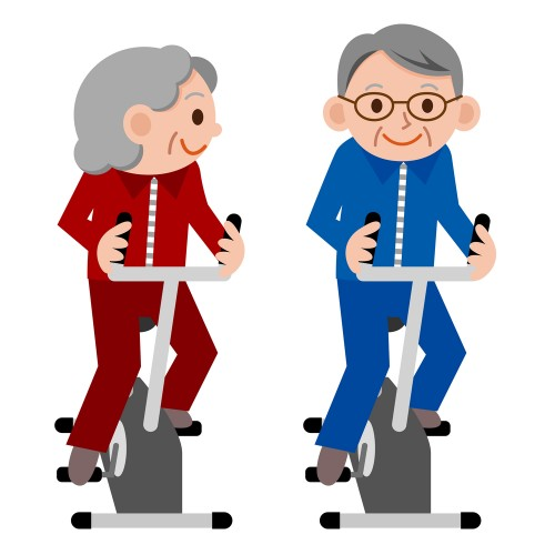 elderly exercising cartoon