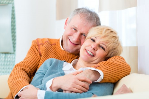 happy older couple, not married