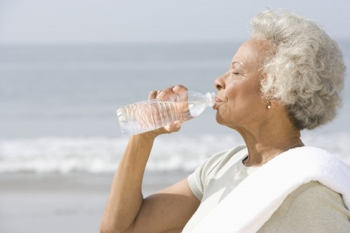 mature-African-American-woman-drinking-water