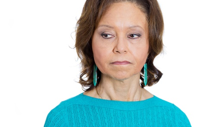 mature anxious african american woman