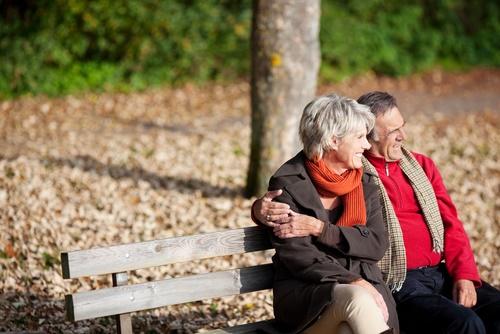 mature couple bench