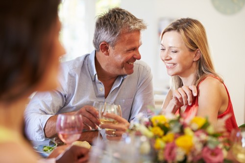 mature couple party drinks