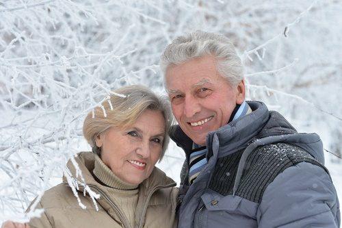 mature couple winter
