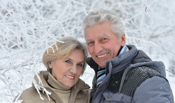 mature couple winter