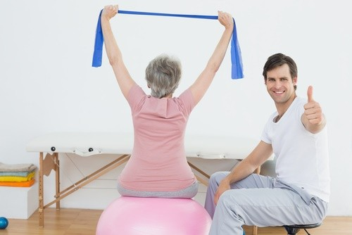 mature woman at physical therapy