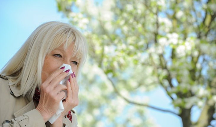 mature woman blowing nose hay fever allergy