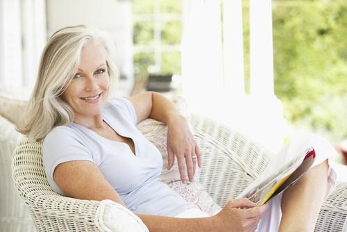 mature woman on porch