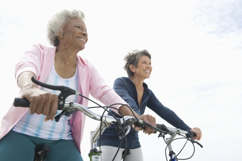 mature women bicycling