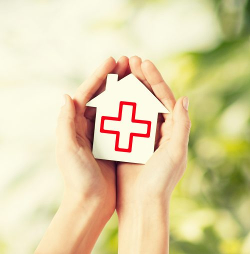 home with red cross